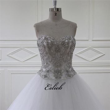 Sparkling Sweet Heart Wedding Dress A Line Beading Pearls Crystals Tulle Ivory Bridal Dress Heavy Beaded Bodice Bridal Gown