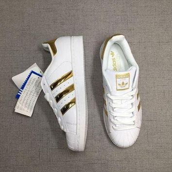 CREY8KY Adidas Superstar 'White/Gold' Laser Sequined Leather
