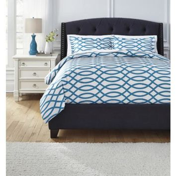 Q720003Q Leander Queen Duvet Cover Set - Turquoise - Free Shipping!