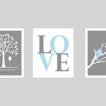 Custom Wedding Gift, Love Birds Wedding Tree, Wedding Gift, Anniversary, Modern Newlywed Print, Wedding Tree Print, CUSTOMIZE your COLORS