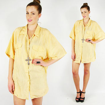 vtg 80s 90s grunge YELLOW 100% SILK slouchy draped OVERSIZED button up shirt blouse top S M L
