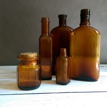Antique Amber Bottles/ Amber Bottle Lot/ Vintage Amber apothecary bottles/ Instant Amber bottle Collection