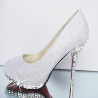 Glitter Wedding Shoes Bridal Evening Party Crystal Red Bottom High Heels Women Shoes y Women's Pumps Bridal Alternative Measures