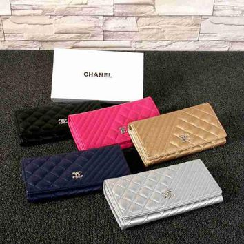 LMFKG5 CHANEL Women Fashion Leather Buckle Wallet Purse