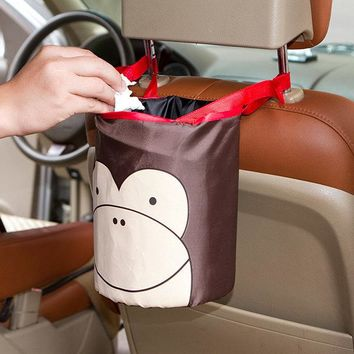 Car Cute Folding Storage Basket Portable Hanging Garbage Can Storage Container
