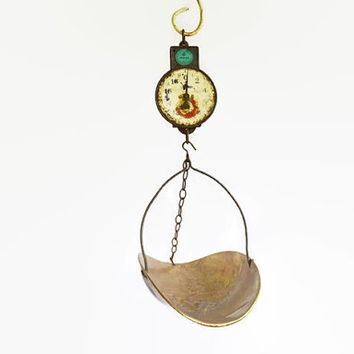 Rustic Hanging Scale, Rustic Commercial Store Scale, Copper Bottom Kitchen Scale, Grocery Store Metal Scale, Industrial Grain Scale