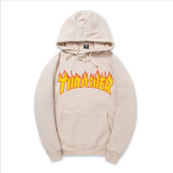 """Thrasher""New flame thickening hoodies sweater no line Apricot"