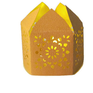Light Orange Handmade Moroccan Middle Eastern Paper Wedding Lantern with LED Battery Tea Light Candle  Event Decor - Party Favor - Lighting