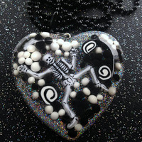 Spooky Skeleton Resin Pendant / Black and White Jewelry / Halloween Horror Jewelry / Gothic Gifts / Halloween 2015 / Creepy Things