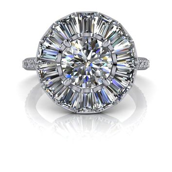 Free Center Stone! Flower Style Diamond Halo Engagement Ring - Colorless Moissanite Ring - Customize Your Ring