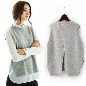 Women's Cashmere Knit Pullovers Vest Waistcoat Winter Sweater Vests Slim Sleeveless Casual Brand Female Shirt Long Coats