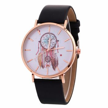 Women Wind Chimes Pattern Quartz Watch Cowboy Belt Table Watch 2017 Special dial Watches Stylish Relogio Feminino montre femme