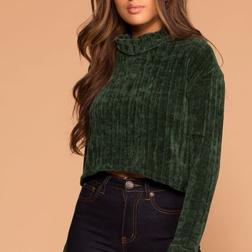 Grace Hunter Green Knit Crop Turtleneck Sweater