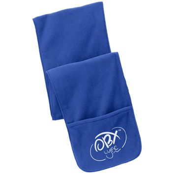 Cloud White OBX Lyfe Port Authority Fleece Scarf with Pockets in 6 Colors