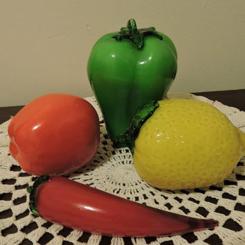Vintage Murano Style Glass Fruit and Veggies Hand Blown Pieces of Glass Art
