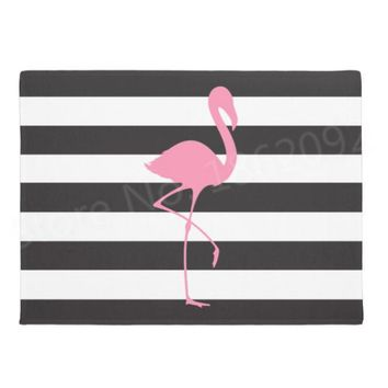 Autumn Fall welcome door mat doormat Tropical Beach Flamingo Black Striped  Chic Pink Flamingo Welcome Mats for Office Chair Desk Home Floor Stripes Decor AT_76_7