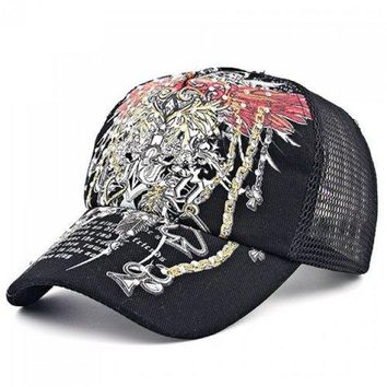 Chic Rhinestone Embellished Retro Pattern Baseball Cap For Women - Black