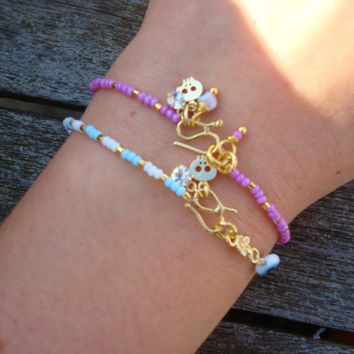 Evil Eye Beaded Tiny Gold Skull Friendship Bracelet - Minimalist Skull Bracelet