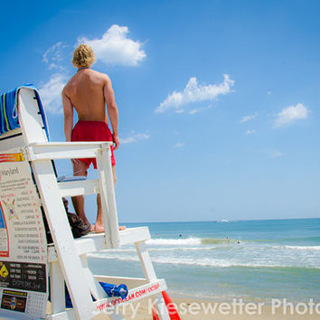 Lifeguard Summer Beach Photo, Ocean City Maryland, OCMD Beachy, Seashore, Fine Art Photography, Wall Art, Home Decor, Beach, Ocean, Sea