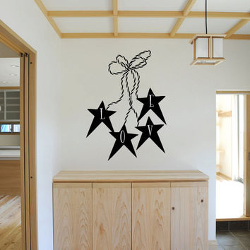 Love with Primitive Stars and Twine Vinyl Wall Words Decal Sticker Graphic