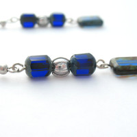 Dark Blue Czech Glass Dangle Earrings  by MoonlightShimmer on Etsy