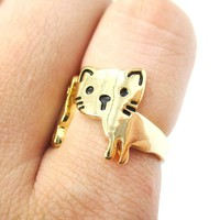 Kitty Cat Shaped Cartoon Animal Wrap Around Ring in Gold   DOTOLY
