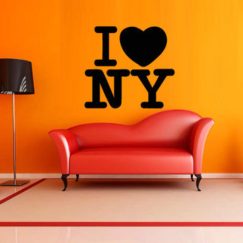 Wall decal decor decals art sticker NY  city  America  love  inscription  letter  word  bedroom  hostel heart (m1236)