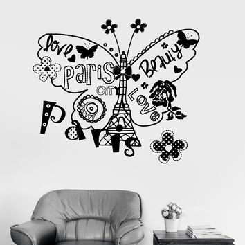 Vinyl Wall Decal Eiffel Tower Paris French Butterfly Sketch Girl Room Unique Gift (ig3293)