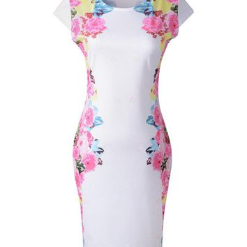 Streetstyle  Casual Chic Round Neck Floral Bodycon Dress