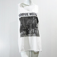 VAMPIRE WEEKEND American Indie Rock Afro Rock T-Shirt White Shirt Singlet Tank Top Women Shirt Tunic Top Sleeveless Vest Shirt Size M L