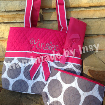 Personalized Large Dot Quilted Diaper Bag - Available in Gray, Pink, Blue - Great Baby Shower Gift!