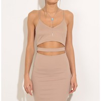Party dresses > Peek-A-Boo Midi Dress In Beige