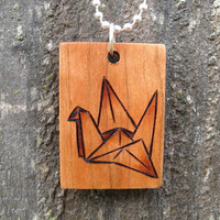 "Origami Crane Bird on Cherry Wood Pyrography Woodburning Pendant 1.5""x1"""