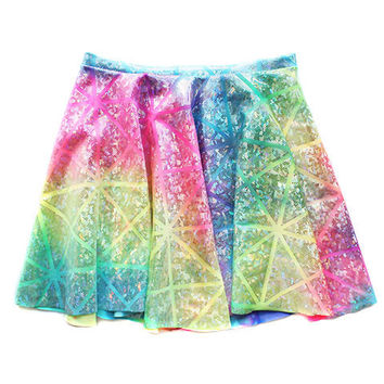 High Waisted Rainbow Holographic Circle Skater Skirt