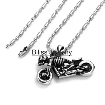 SHIPS FROM USA Men Statement Necklace Vintage Style Stainless Steel Skull Skeleton Motorcycle Pendant Necklace Mens Birthday Gift