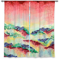IT'S A ROSE Fine Art Window Curtains, Multiple Sizes Abstract Rainbow Flowers Floral Garden Decor Bedroom Kitchen Lined Unlined Woven Fabric