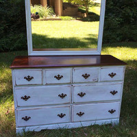 Antiqued and distressed painted dresser with mirror