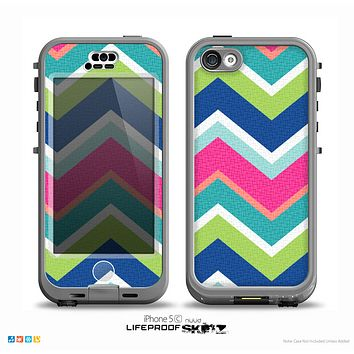The Vibrant Teal & Colored Layered Chevron V3 Skin for the iPhone 5c nüüd LifeProof Case