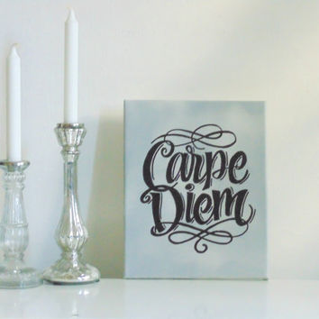 Carpe Diem  - small canvas silver gray black - Wall Art Canvas handmade written- original by misssfaith