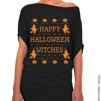 Halloween Shirt - SALE - Happy Halloween Witches - Black with Orange Longer Length Slouchy Tee (Small - Plus Sizes)