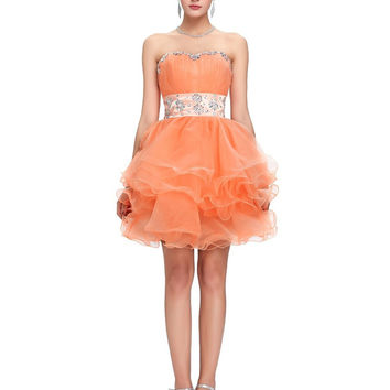 2017 New Arrival Cute Short Cocktail Dresses Orange Ball Gown Prom Party Dress Sexy Party Gown Dance Birthday Gift 2017