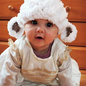 SALE 6 to 12m Baby Lamb Hat White Baby Sheep Hat - Spring Lamb Beanie Baby Girl Crochet Lamb Hat Farm Animal Hat White Brown Baby Photo Prop