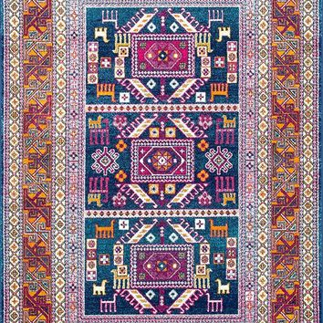 20025 Navy Blue Southwestern Tribal Oriental Area Rugs