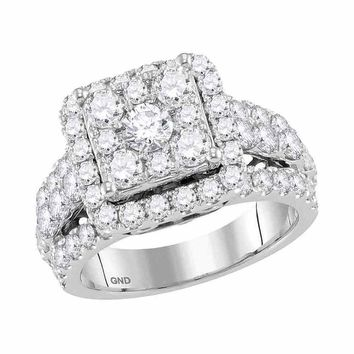 14kt White Gold Womens Round Diamond Square Cluster Bridal Wedding Engagement Ring 3.00 Cttw