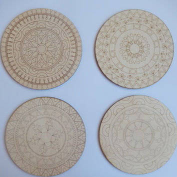 Mandala Coloring Set. 4 Laser Cut Wood Shapes for Adult Coloring. Wooden Mandalas.Mandala Unfinished Cutouts. Mandala Fridge Magnets. m004