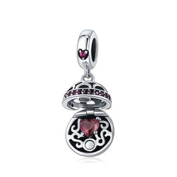 Sterling Silver Gift Box Dangle Ball Charm Pendant