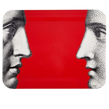 Fornasetti 'Profili on red'  tray