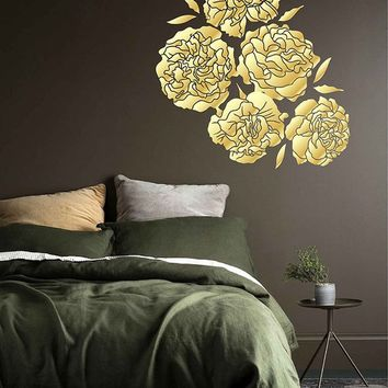 Peony Wall Decal Peony Flowers Wall Sticker Vintage Peony Wall Stickers gold Peony Wall Decals Wall Decor Gold Decal ik3532