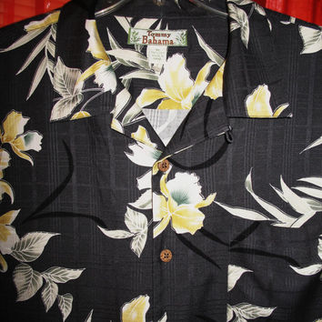 Amazing Vintage Hawaiian Shirt TOMMY BAHAMA  Tropical Flowers Camp 100% Silk Size XL  Very Collectible