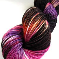 hand dyed yarn, hand painted yarn, handpainted yarn, superwash bfl wool yarn, sock yarn, kettle dyed yarn, fingering, orange pink black yarn